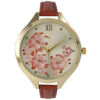 Olivia Pratt Women's Skinny Blossoms Leather Watch | Overstock.com Shopping - The Best Deals on More Brands Women's Watches