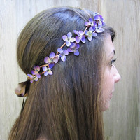 Flower Girl Crown - Purple Star Flower Hair Wreath, Wildflowers, Lavender, Weddings, Fairy Crown