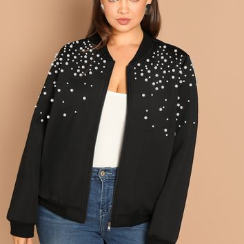 Pearl Embellished Zip Up Jacket for Curvy Gals