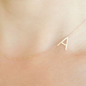 Gold Sideways Initial Necklace - Personalized Jewelry - Letter NEcklace -  Personalized Bridesmaids Gifts -Personalized Necklace