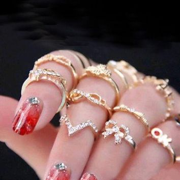 DCCKU62 Tomtosh 2016 New 1 Set 7 pcs Women's Rhinestone Bowknot Knuckle Midi Mid Finger Tip Stacking Rings