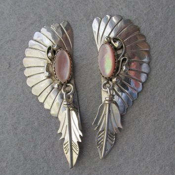 Large Vintage Native American Navajo Sterling Silver & Pink Mother-of-Pearl Headdress Feather Dangle Pierced Earrings