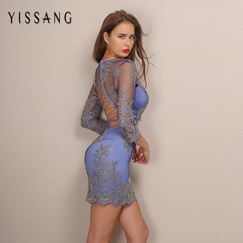 Yissang 2017 Winter New Long Sleeve Embroidery Lace Bodycon Dress Elegant Deep V Neck Backless Women Dresses For New Year