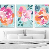 Flower Wall Art, Aqua Pink Orange Floral Bedroom Pictures, Aqua Pink Orange Bathroom Wall Decor, Flower CANVAS or Prints Set of 3 Pictures