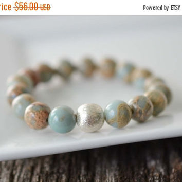 African Opal Bracelet, Beaded Bracelet, Gemstone Bracelet, Brushed Sterling Silver Bracelet, Stacking Bracelet, Boho Womens Jewelry Gifts