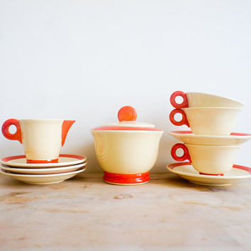 Vintage French Tea Set // Digoin Sarreguemines 1940 // Orange cream // coffee set // french country // spring home // cup saucers