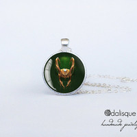 Handmade Loki God of Mischief Silver Pendant Thor brother Pendant gift present jewelry birthday for him for her round circle
