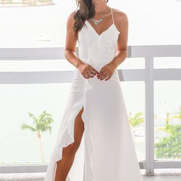 White Ruffled Maxi Dress with Lace Up Back