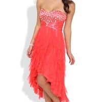 Strapless High Low Dress with Chunky Stone Sweetheart Bodice