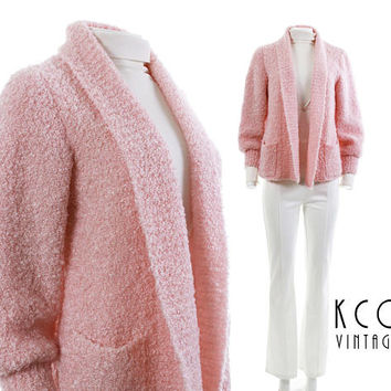 "Cardigan Sweater Women Pastel Pink Nubby Boucle Knit Sweater Chunky Sweater 80s Clothing Vintage Clothing Women's Size SMALL 37"" Bust"