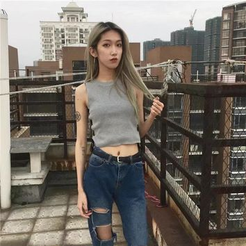 Women Knitted Sleeveless Tank top Stretch Casual Fit Black Cross Ribbons Design Female Summer Slim Knitted Vest Top