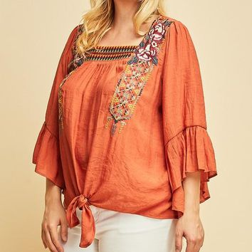 MADISON Square Neck Embroidered Top in Rust