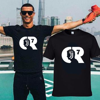 2018 Summer MAGLIA MAGLIETTA CRISTIANO RONALDO ALLA JUVENTUS  T-Shirt Men Short Sleeve O-Neck fashion T shirts for fans gift