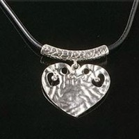 Bold Silver Pewter Heart Pendant Statement Necklace Black Cord