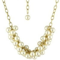"Lenora Dame ""Romantic"" Cream Pearl Cluster Necklace"