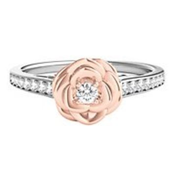 Disney Enchanted 1/4 ct. tw. Diamond Belle Rose Ring in Sterling Silver & 10K Rose Gold