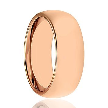 Aydins Rose Gold Tungsten Mens & Womens Ring Shiny 2mm, 5mm, 7mm Domed Tungsten Carbide Wedding Band