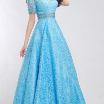 Blue Prom Dresses with Short Sleeves Illusion A-Line Party Gowns High Neck Beading Lace Long Evening Dress
