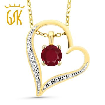 Round Red Ruby 18K Gold Plated Silver Diamond Accent Heart Pendant Necklace
