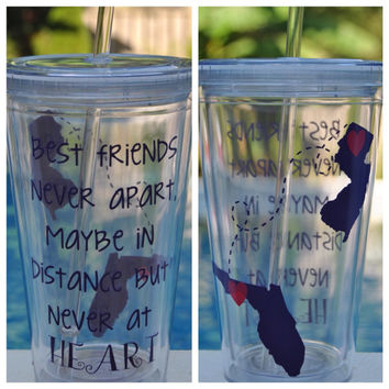 SET OF 2 Best friends never apart maybe in distance but never at heart, best friend cup, moving away friend gift, college best friend gift