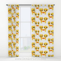 Chibi Catdog WINDOW CURTAIN Decorative House Home Art Decor Fan Gift Drapes Treatment Movie TV Cat Dog Yellow 90s Fandom Puppy Kitten Cutesy