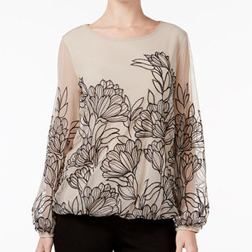 Alfani Embroidered Mesh Blouson Top, Only at Macy's | macys.com