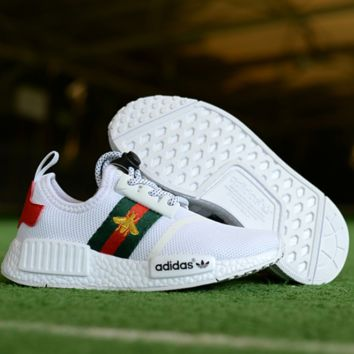 Kids Adidas NMD R1 GUCCI Bees Sneaker Casual Shoes White