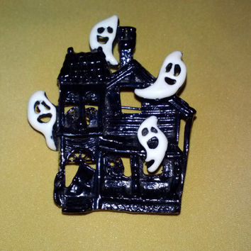 Vintage Haunted House with Ghosts Halloween Metal Enameled Pin Brooch Novelty Costume Party Spooky Fun Jewelry