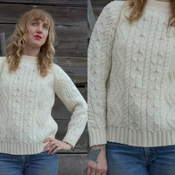Vintage 1980's Irish Cable Knit Ivory Sweater
