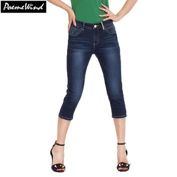 PoemeWind Ladies 3/4 Jeans Cropped Denim Pants Capri Bottoms Capri Trousers Summer Pants For Women Capris Plus Size 28-38 40