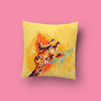 Hello, Giraffe Throw Pillow - giraffe pillow, animal pillow, animal cushion, animal lovers, colorful pillow, home decor