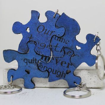 Friendship Set of 4 Best Friend Key chains Linking pieces Our time together is never quite enough Your Color Choice leather