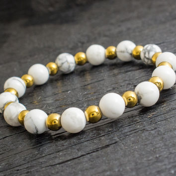White howlite beaded stretchy bracelet with gold plated hematite beads, made to order yoga bracelet, mens bracelet, womens bracelet