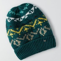 AEO Patterned Beanie , Green | American Eagle Outfitters