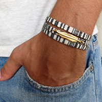 Men's Bracelet - Men's Feather Bracelet - Men's Black & White Bracelet - Men's Jewelry - Bracelets For Men - Jewelry For Men - Gift for Him