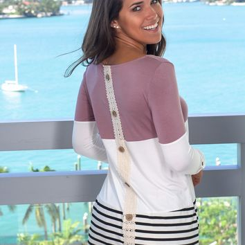 Mauve Top with Crochet Back and Buttons