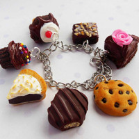 chocolate theme polymer clay charm bracelet