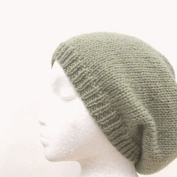 Slouch Hat | Hand knitted hat | Green Slouchy beanies