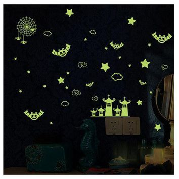 ICIKU7Q New Fluorescence Wall Stickers Cartoon Small Castle DIY glow in the dark wall stickers for kids rooms