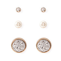 Mixed Rhinestoned Disc Stud Set