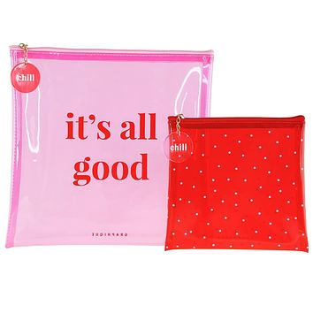 It's All Good Pink and Red Large Square Pouch Set