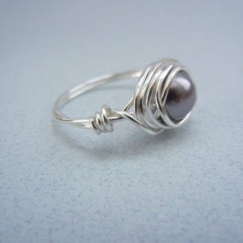 Silver Wire Wrapped Ring - Purple Pearl Ring - by threestonebirds