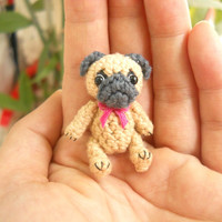 Mini Crochet Fawn Pug Dog - Teeny Tiny Dollhouse Miniature Pet
