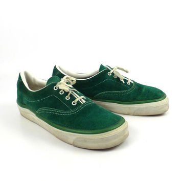 Chris Craft Boat Shoes Vintage 1980s Green Suede Sneakers Leather Women's size 5 1/2