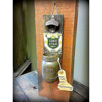 Texas Rustic Wooden Bottle Opener Lone Star Wall Mount Cap Catcher  Gift for Dad Groomsmen gift