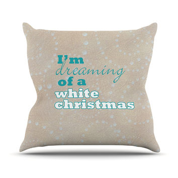 "Sylvia Cook ""White Christmas"" Brown Teal Outdoor Throw Pillow"