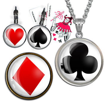 Playing Card Symbols images for Pocket Mirrors, Buttons, Earrings,Pendants, Bottle caps Digital Collage Sheet