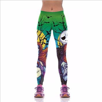 Womens Printed Halloween Leggings The Nightmare Before Christmas Cosplay Leggin Jack And Sally Slim Design Fitness Girls Pants