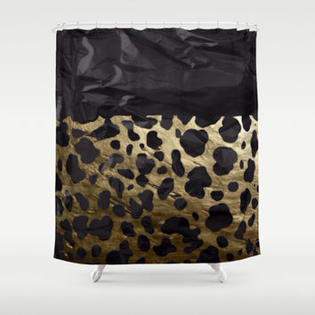Gold and Black Cheetah Metal Texture  Shower Curtain by OCDesigns