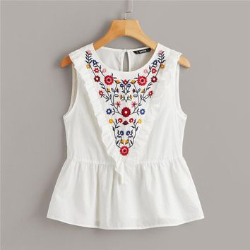 Ruffle Trim Embroidery Print Peplum Blouse Cotton Round Neck Sleeveless Blouse Women Cute Solid Tops